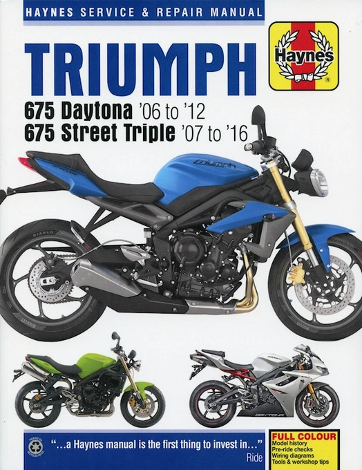 triumph 675 daytona, street triple, street triple r repair manual 2006-2016
