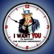 Uncle Sam Support 2nd Amendment Wall Clock, LED Lighted