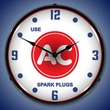 Use AC Spark Plugs Wall Clock, LED Lighted