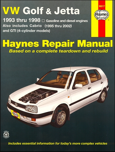 VW Golf, Jetta, GTI 1993-1998, Cabrio 1995-2002 Repair Manual