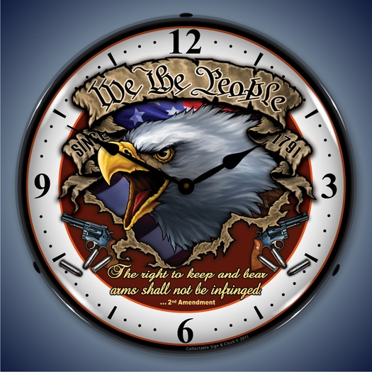 We the People Wall Clock, LED Lighted