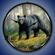 Woodland Morning Bear Wall Clock, LED Lighted