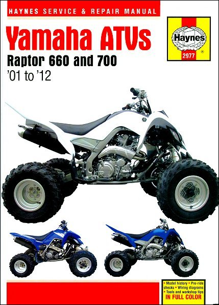 yamaha raptor 660 700 repair manual 2001 2012 haynes 2977 rh themotorbookstore com Yamaha Raptor 700R 2003 yamaha raptor 660 repair manual