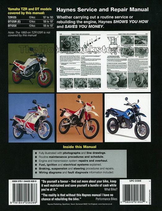 Signs Of Transmission Going Out >> Yamaha TZR125, DT125R/X Repair Manual 1987-2007 | Haynes 1655