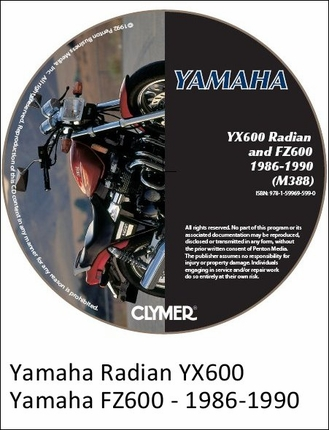 Yamaha YX600 Radian, FZ600 Repair Manual 1986-1990 on CD