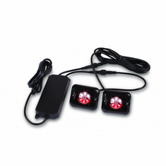 "2 RED/WHITE 1"" 18-WATT LED STROBE LIGHTS"