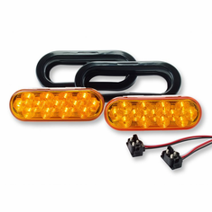 "LED 6.5"" OVAL SELF CONTAINED AMBER STROBE LIGHT KIT"