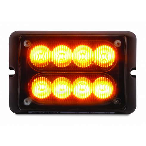 LED AMBER DUAL ROW STROBE LIGHT WITH 15 FLASH PATTERNS