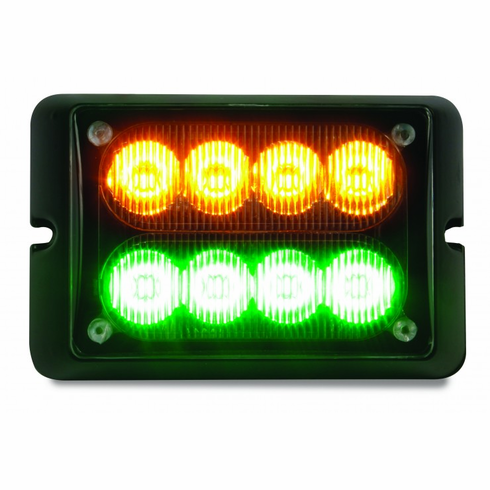 LED AMBER/GREEN DUAL ROW STROBE LIGHT WITH 15 FLASH PATTERNS