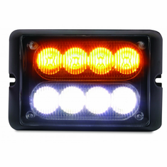 LED AMBER/WHITE DUAL ROW STROBE LIGHT WITH 15 FLASH PATTERNS