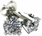 1.0 TCW Diamond Stud Solitaire White Gold Earrings 3PE100WG
