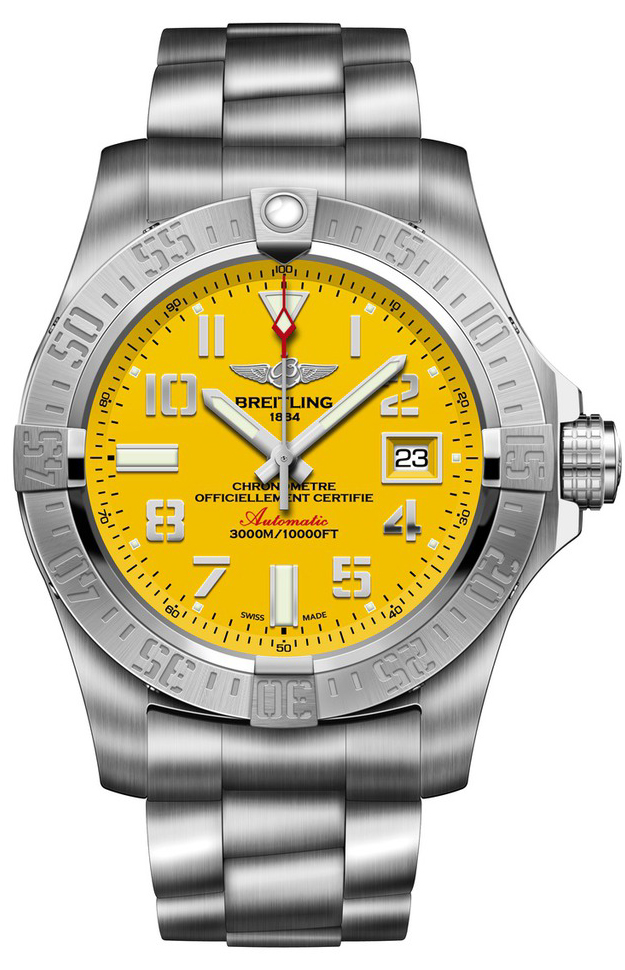 ii breitling brown dp mens avenger watch dial leather com yellow seawolf watches strap on amazon