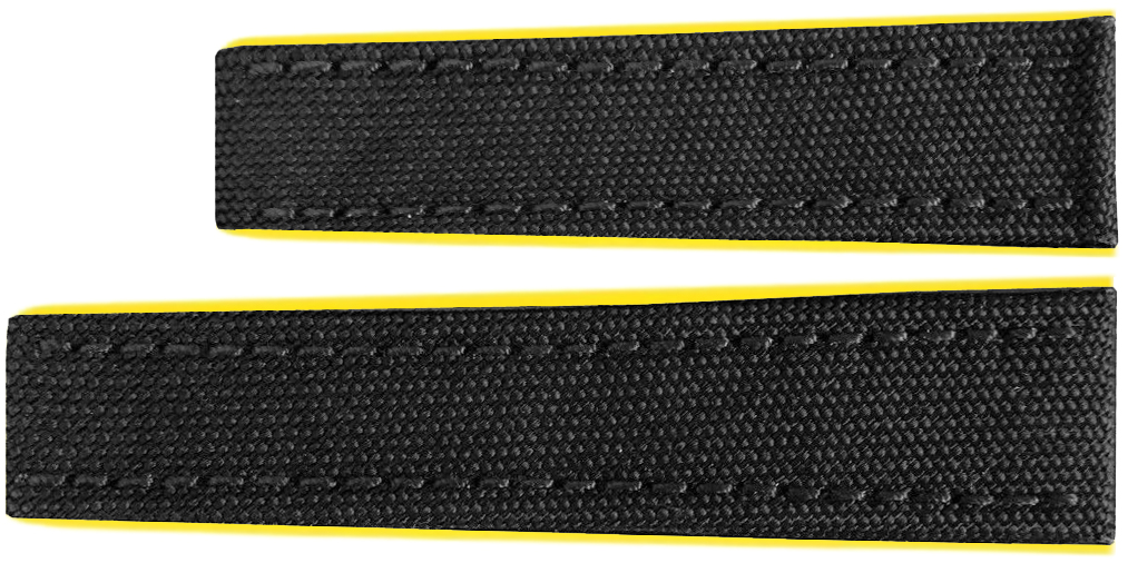 Image of Breitling 22mm Black Fabric Strap with Yellow Rubber Inner Lining 284S