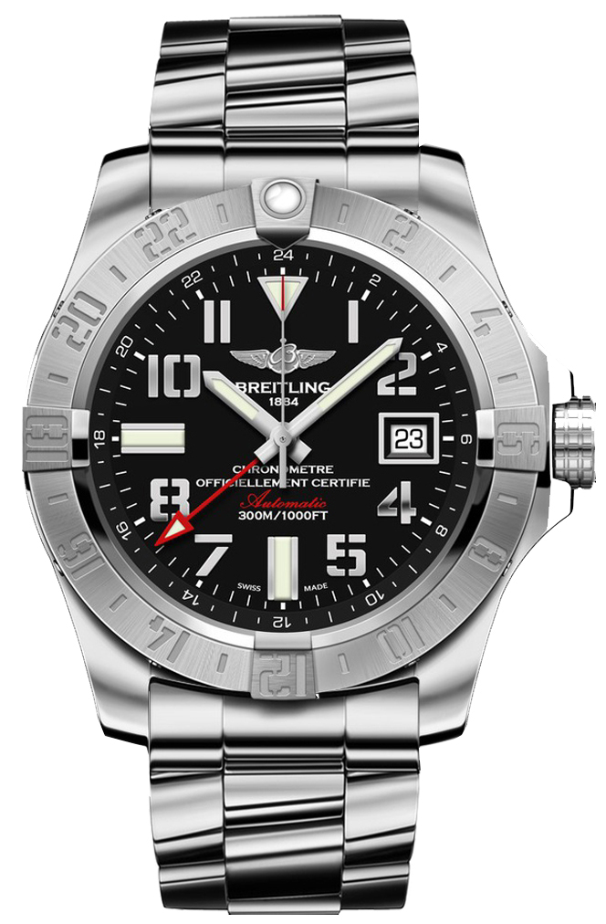 A3239011 bc34 170a breitling aeromarine avenger ii gmt mens black dial steel watch for Avengers watches