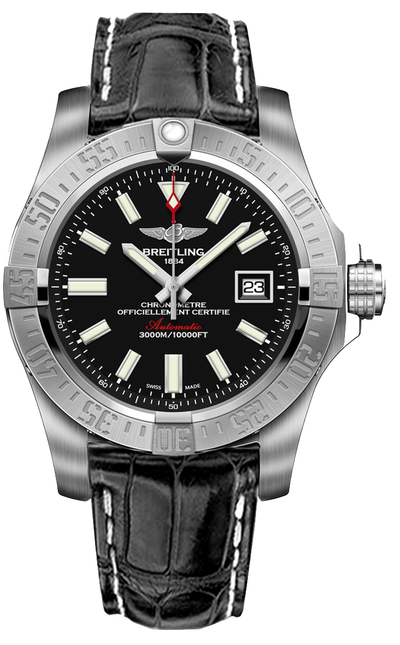 A1733110 bc30 744p breitling avenger ii seawolf mens black dial strap watch for Avengers watches