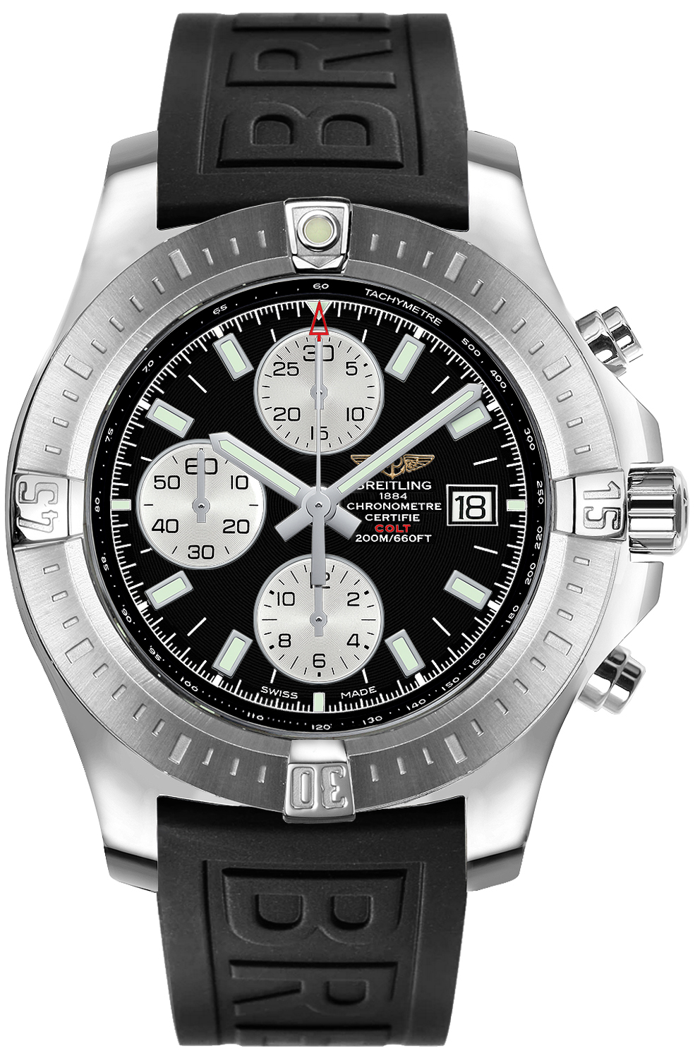 a1338811 bd83 152s brand new breitling colt mens 44mm automatic chronograph watch. Black Bedroom Furniture Sets. Home Design Ideas