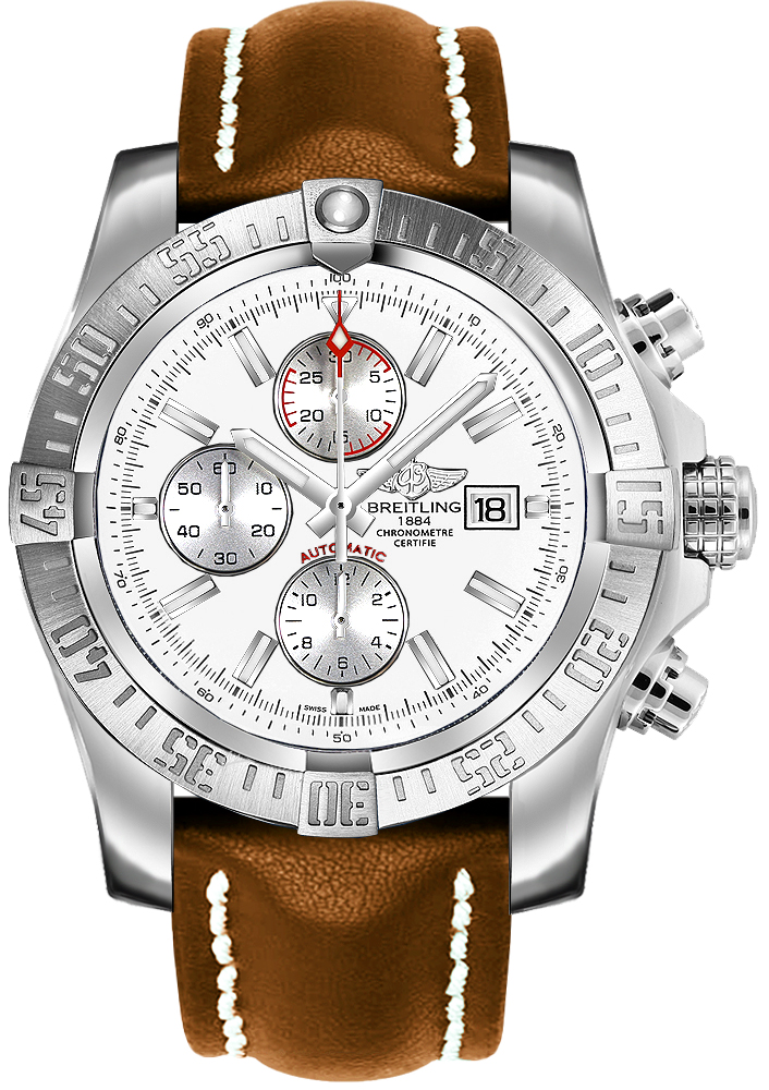 A1337111 g779 443x breitling super avenger ii mens silver dial leather strap watch for Avenger watches