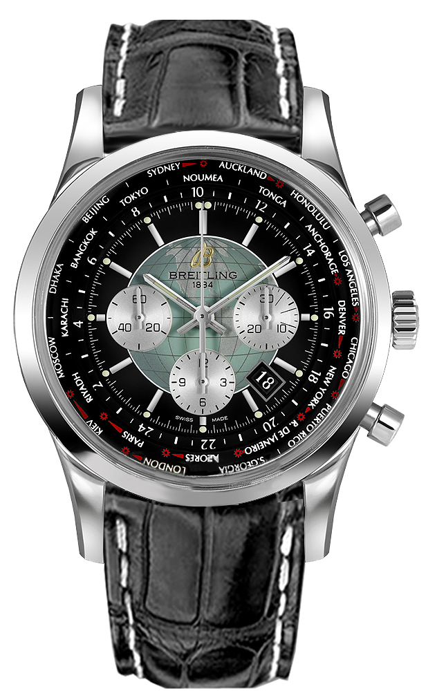 ab0510u4  bb62 breitling transocean chronograph unitime mens black dial leather strap watch