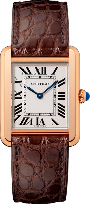w5200024 cartier tank solo small silver dial brown alligator. Black Bedroom Furniture Sets. Home Design Ideas