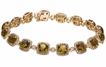 Diamond Bracelet, 1.59 Carat Diamonds 14.63 Carat Cognac Topaz on 14K Rose Gold