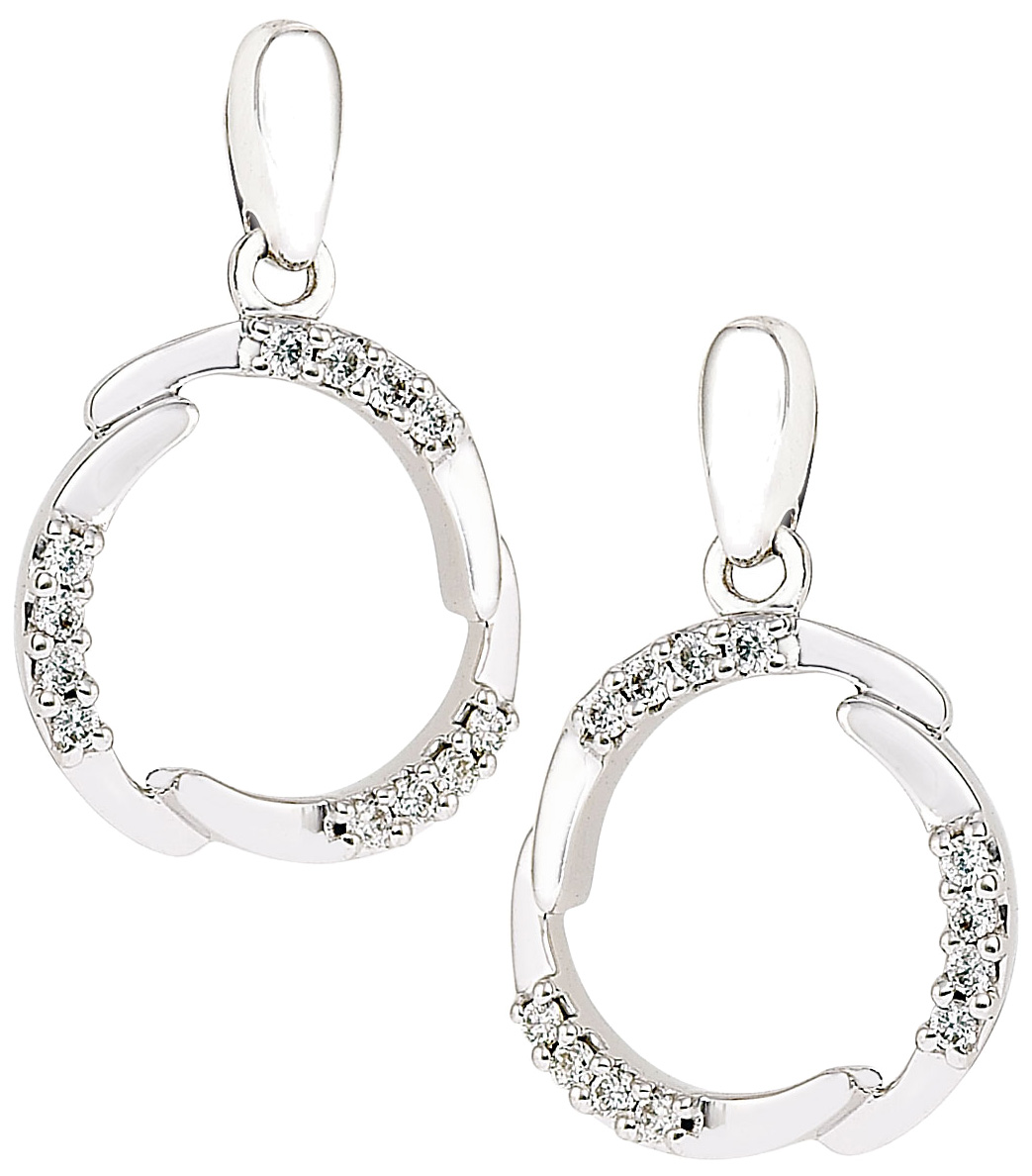 Diamond Earrings 12 Carat Diamonds On 14k White Gold