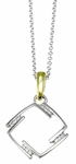 Diamond Pendant, .05 Carat Diamonds on 14K White & Yellow Gold
