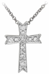 Diamond Pendant, .08 Carat Diamonds on 14K White Gold