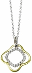 Diamond Pendant, .10 Carat Diamonds on 14K White & Yellow Gold