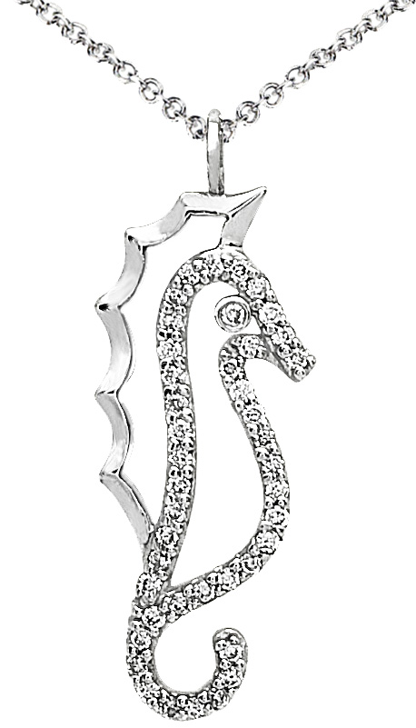 Image of Diamond Pendant, .16 Carat Diamonds on 14K White Gold