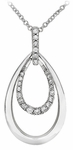Diamond Pendant, .18 Carat Diamonds on 14K White Gold