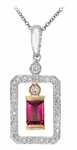 Diamond Pendant, .27 Carat Diamonds .33 Carat Pink Tourmaline on 14K White & Rose Gold
