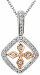 Diamond Pendant, .37 Carat Diamonds on 14K White & Rose Gold