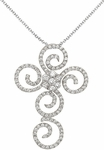 Diamond Pendant, .55 Carat Diamonds on 14K White Gold