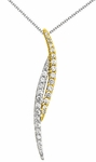 Diamond Pendant, .55 Carat Diamonds on 14K White & Yellow Gold