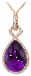 Diamond Pendant, .56 Carat Diamonds 14.22 Carat Amethyst on 14K Rose Gold