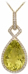 Diamond Pendant, .56 Carat Diamonds 14.22 Carat Quartz on 14K Yellow Gold