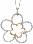 Diamond Pendant, .78 Carat Diamonds on 14K White & Rose Gold