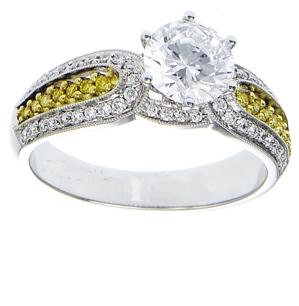 White yellow diamonds set on two tone gold ladies ring for 26 carat diamond ring