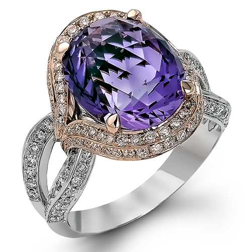 Diamond Gold La s Ring with 6 53 ct Amethyst Gemstone