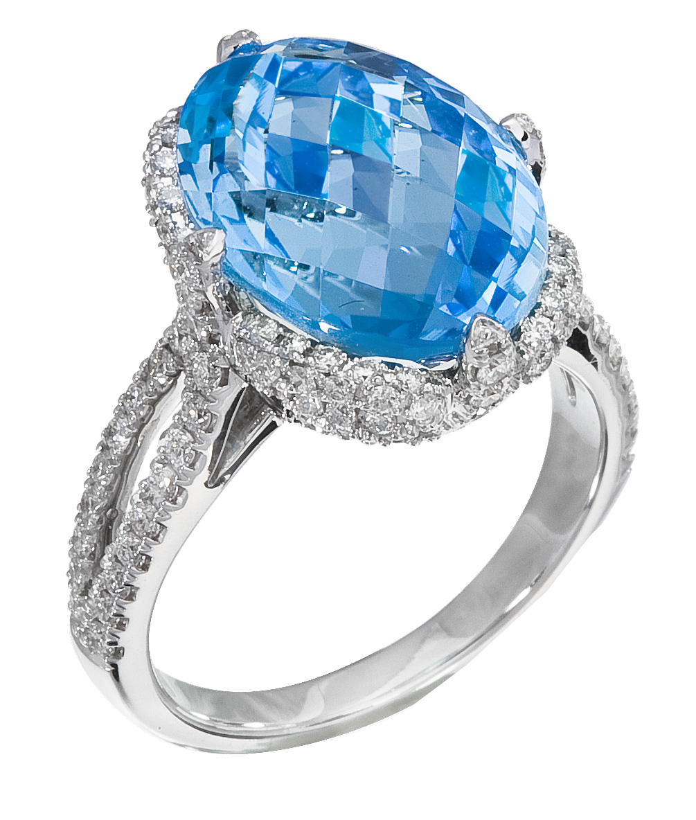 White Gold Diamond & Topaz Ring on Special