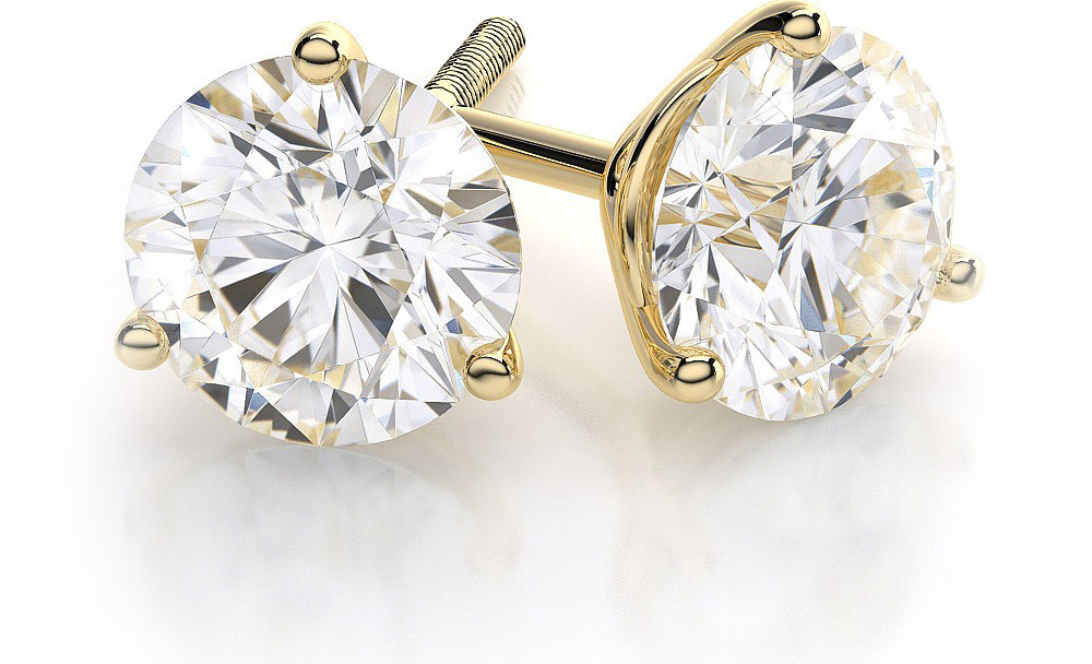Image of .50 TCW Diamond Stud Solitaire Yellow Gold Earrings 3PE50YG