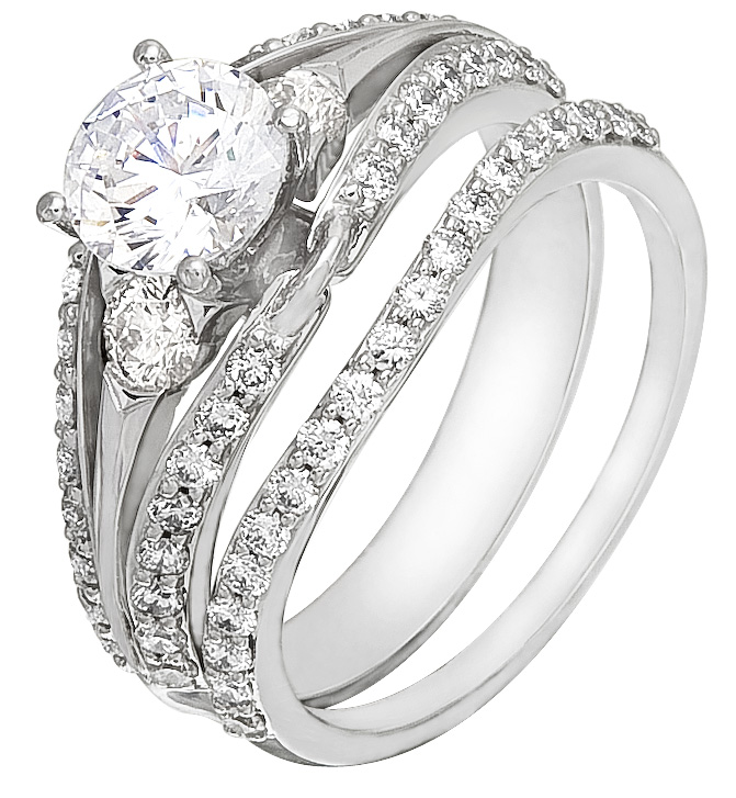 Wedding ring set on sale white gold with diamonds for Diamond wedding rings on sale