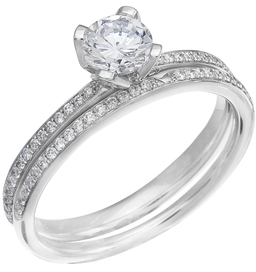 Diamond Wedding Ring Set, .19 Carat Diamonds On 14K White Gold   Image 0