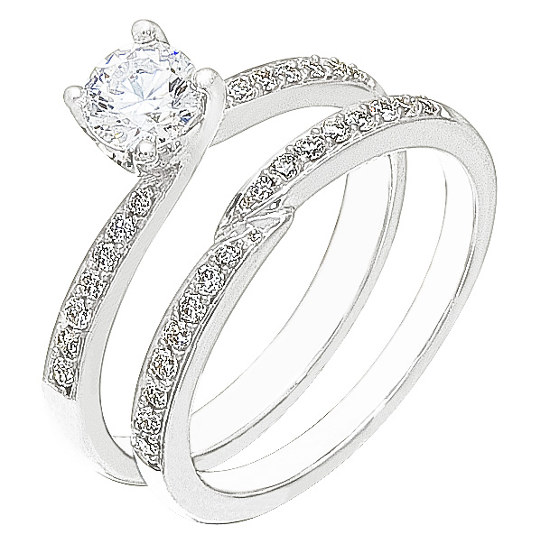 Diamond Wedding Ring Set, .24 Carat Diamonds On 14K White Gold   Image 0