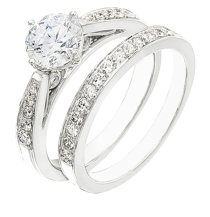 Ladies Engagement Ring Set On Sale Set on White Gold with Diamonds