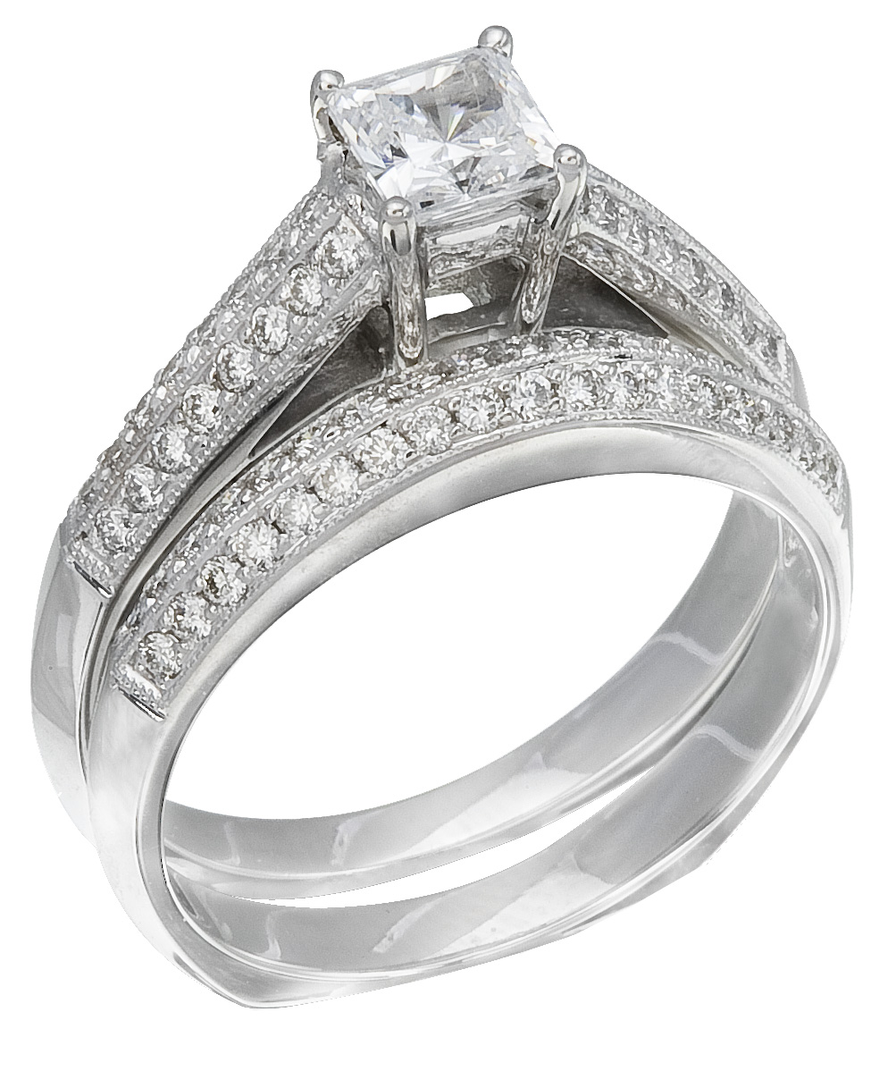 Diamond Wedding Ring Set, .46 Carat Diamonds On 14K White Gold   Image 0