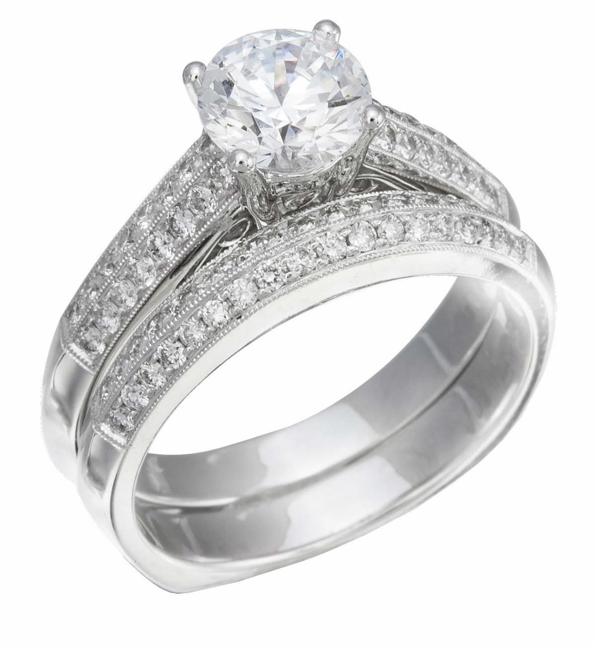wedding ring set white gold with diamonds on ring band. Black Bedroom Furniture Sets. Home Design Ideas
