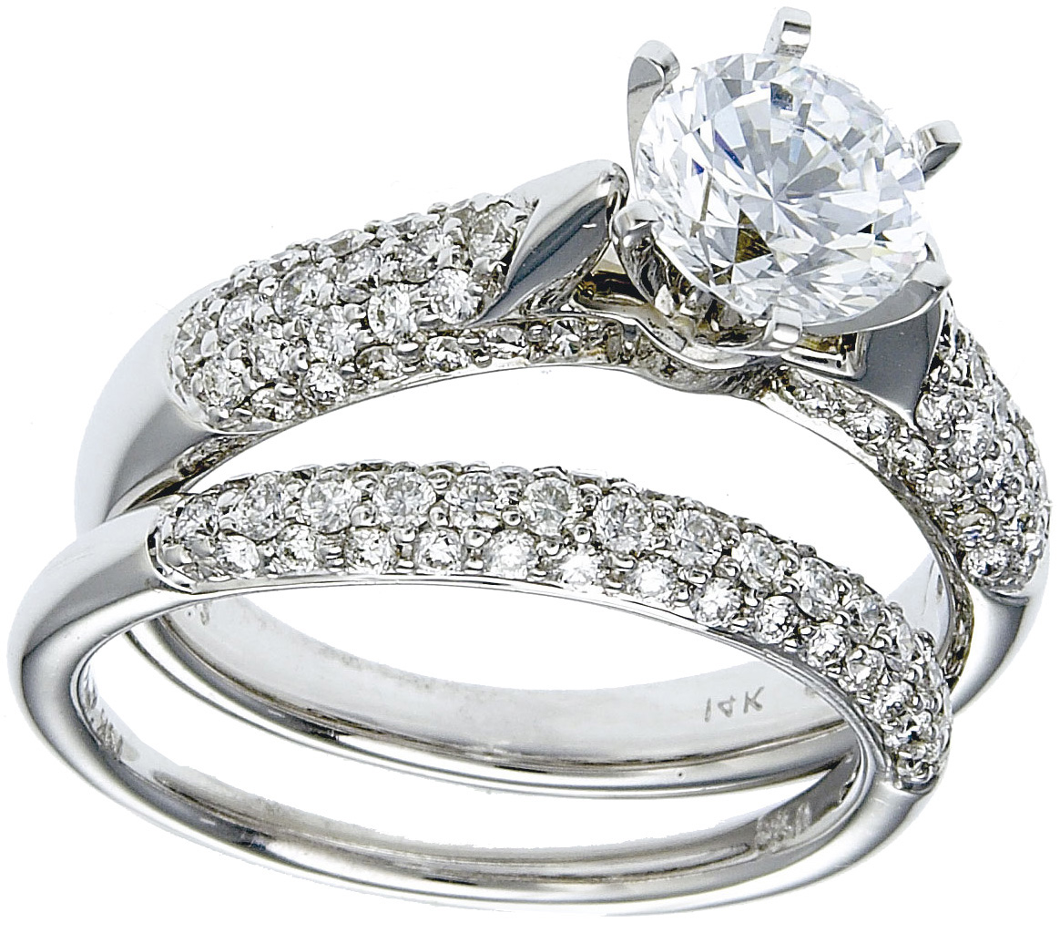 Gold Diamond Wedding Ring Set Deal