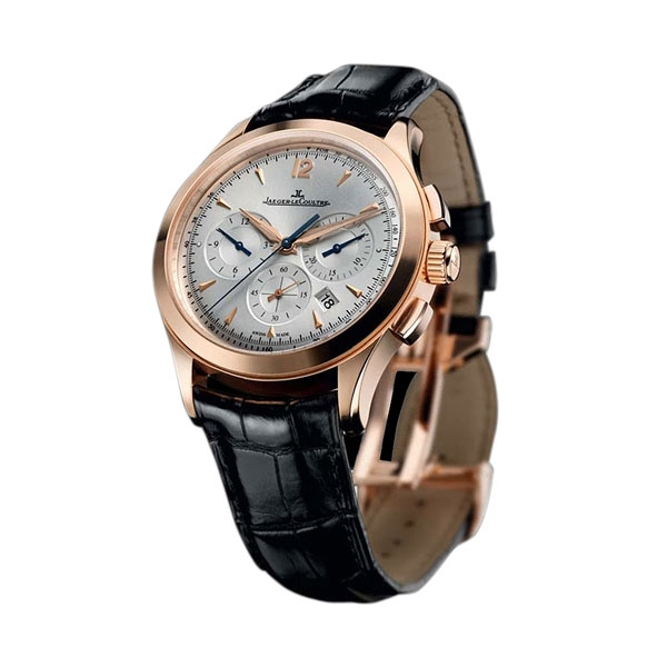 New jaeger lecoultre master chronograph q1532420 mens automatic watch silver dial rose gold case for Chronograph master