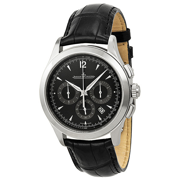 q1538470 jaeger lecoultre master chronograph mens black dial watch